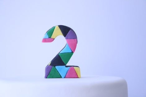 geometric fondant topper